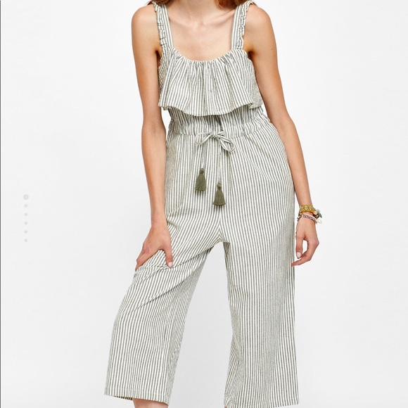 d2ea5dfc358 NEW ZARA STRIPED CULOTTE JUMPSUIT WITH RUFFLES NWT
